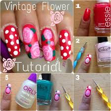 vintage flower nails tutorial nail art pinterest neglekunst