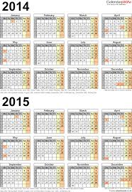 two year calendars for 2014 u0026 2015 uk for word