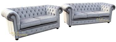 Chesterfield Sofa Suite Chesterfield 3 Seater 2 Seater Settee Perla Illusions Grey