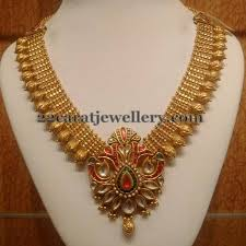 gold har set traditional set with meenakari pendant jewellery