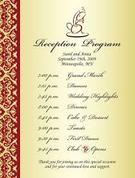 wedding reception program sle wedding reception program sle wedding ideas 2018