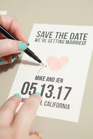 make your own save the date make your own thumbprint heart save the dates
