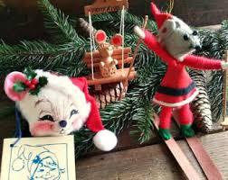 Christmas Mice Decorations Vintage Felt Mice Etsy