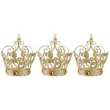gold glitter crown ornaments holidays gold glitter