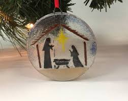 fused glass nativity etsy