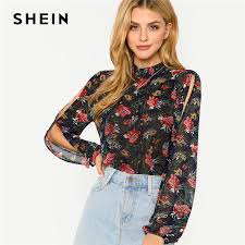 split sleeve blouse shein frill collar split sleeve floral print top stand