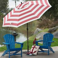 Blue And White Striped Patio Umbrella Outdoor 9 Ft Metal Patio Umbrella With Tilt And Crank Lift In