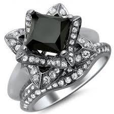 princess cut black engagement rings 2 41ct black princess cut lotus flower engagement ri