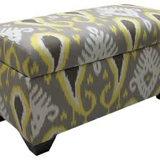 Ikat Storage Ottoman Arthur Storage Ottoman Gray Yellow Ikat From One