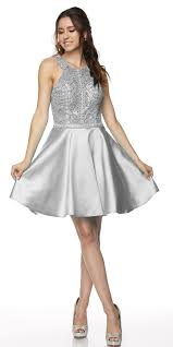 juliet 779 silver embellished bodice short prom dress sleeveless