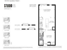 Studio Floor Plan by Ten93 Queen West Pre Construction Condo Liberty Village Condo