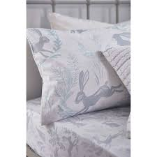 bianca hare cotton print fitted sheet bed linen