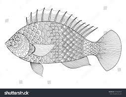 fish art design coloring book stock vector 374624845