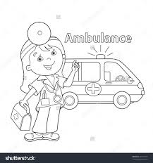 coloring page outline of cartoon doctor with first aid kit doctor