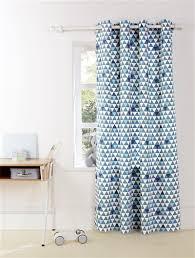 rideau garcon chambre rideau bâchette triangles imprimés bleu losange triangle