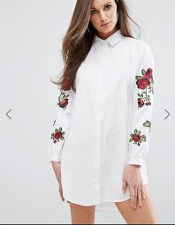 ao dam áo đầm sơ mi thêu hoa nàng boutique