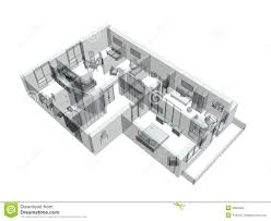 3d sketch of a four room apartment stock photography image 5869462