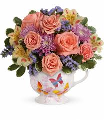 potpourri everyday flower arrangements teleflora u0027s butterfly sunrise bouquet