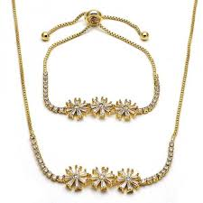 gold flower necklace designs images Gold layered 06 221 0021 necklace and bracelet flower design jpg