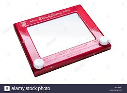 vintage retro etch a sketch drawing toy stock photo royalty free