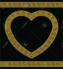 greek key heart shape border royalty free cliparts vectors and
