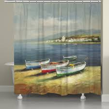 Fishing Shower Curtain Boats On The Beach Shower Curtain U2013 Laural Home
