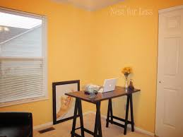 yellow stenciled wall for my new home office craft room how to