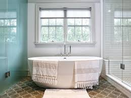 patterned glass shower doors bathroom stand alone tub frosted brown patterned tile floor glass