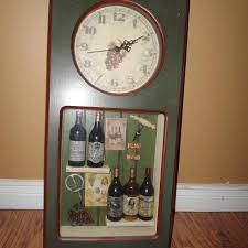themed wall clock best wine themed wall clock with shadow box insert wine theme for