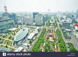 travel concept panoramic modern city bird eye view on nagoya tv