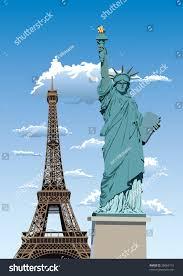 Large Eiffel Tower Statue Statue Liberty Paris Eiffel Tower Against Stock Illustration