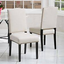 Beige Leather Dining Chairs Nailhead Chair Ebay