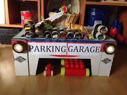 diy toy parking garage cardboard box from costco and toilet paper