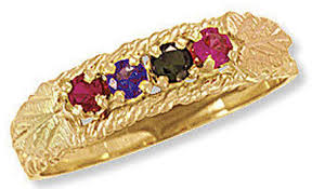 black gold mothers ring black mothers ring with 2 6 2 5mm genuine birthstones in 10k