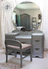 vintage vanity table with mirror and bench vintage art deco waterfall dressing tablevanity with bench zinc