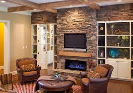 living room design with stone fireplace interior design