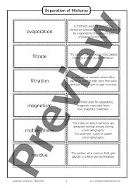 separation of mixtures u2013 flashcards good science worksheets
