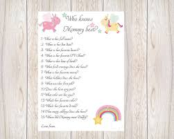 who knows mom best unicorn baby shower ideas printable baby