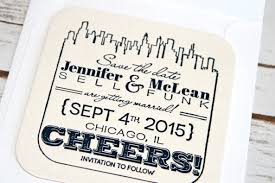save the date coasters chicago skyline save the date letterpress coaster