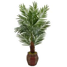 nearly 5 ft high indoor areca palm artificial tree in weave