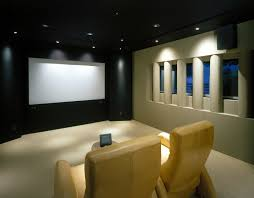 home theater movie design with wood wall floor and square fancy