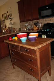 Kitchen Island Out Of Dresser - kitchen island out of an old dresser and ikea butcher block top