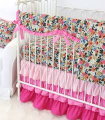 Baby Bedding Teagan U0027s Pink Floral Ruffle Bumperless Crib Bedding Caden Lane