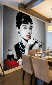 10 best raving retro wallpaper images on pinterest retro have breakfast with audrey everyday with this stunning wall mural of audrey hepburn in black and white great for creating a hollywood themed bedroom