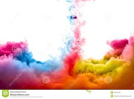 Color by Rainbow Of Acrylic Ink In Water Color Explosion Stock Photo