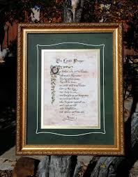 the lord u0027s prayer framed art and calligraphy with birds and leave