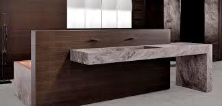 contemporary bathroom teak stone trama by mario mazzer