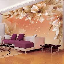 glossy amber flower mural sweet purple and pink sectional sofa