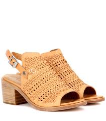 rag u0026 bone wyatt mid heel leather sandals natural woven brown
