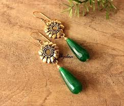 gold earrings online antique gold earrings green gemstone earrings online in